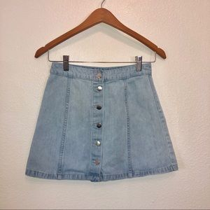 H&M | denim mini skirt button front